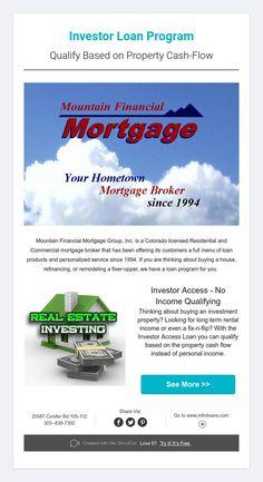Investor Loan Program  Qualify Based on Property Cash-Flow