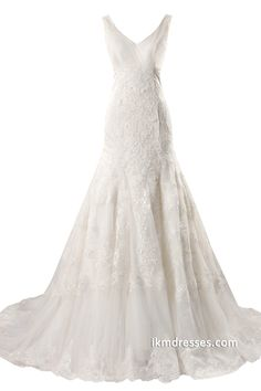Women Mermaid Double V-Neck White Wedding Dress Bride Dress http://www.ikmdresses.com/Women-Mermaid-Double-V-Neck-White-Wedding-Dress-Bride-Dress-p88193