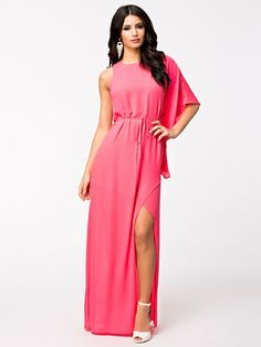 Neon Pink Split Dress - Nly Eve - Vaaleanpunainen - Juhlamekot - Vaatteet - Nainen - Nelly.com