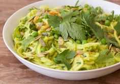 Zucchini and Carrot Noodles with Avocado, Pea and Kale Noodles