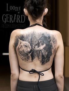 Wolfs tattoo back by @loonygerard, Poland