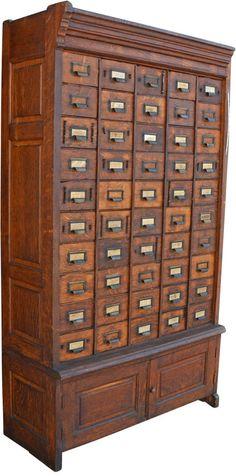 Enormous 50-Drawer Oak Hardware Cabinet c1920s