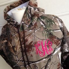 Monogram Hoodie Camo Camouflage RealTree Personalized Monogrammed Initials by Chickadee's Designs