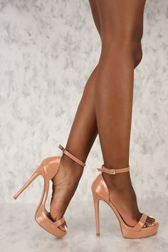 ba6c3ba218869 Sexy Taupe Open Toe Platform High Heels Patent