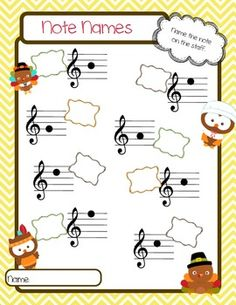 THANKSGIVING NOTE NAME WORKSHEETS - TeachersPayTeachers.com