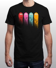 """pac ghost colors"" is today's £8/€10/$12 tee for 24 hours only on www.Qwertee.com Pin this for a chance to win a FREE TEE this weekend. Follow us on pinterest.com/qwertee for a second! Thanks:)"