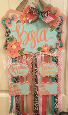 Baby girl hospital door hanger, coral, leopard print, Aqua, twins, Joley Bean Designs