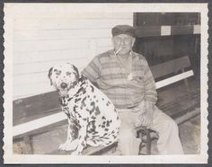 Vintage Polaroid Photo Man Smoking Dalmatian Dog 889260 | eBay