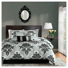 Charlize 7 Piece Comforter Set with Flocking - Black/Grey (Queen)