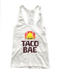 RexLambo Women's Vintage Taco Bae Bell Print Racerback Tank Top M white