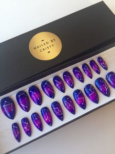 Galaxy Constellation Stiletto Press On Nails | Purple Blue Magenta | Handpainted Nail Art Design | Fake False Glue On Nails