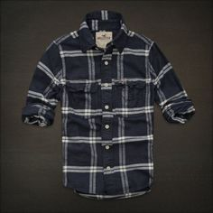 HOLLISTER By Abercrombie MENS CASUAL SHIRT FLANNEL PLAID M Navy