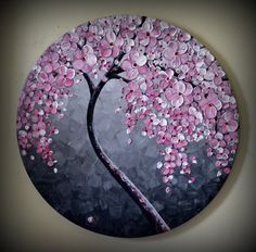 ORIGINAL Fine Art Modern Tree Painting Black and White Landscape Home Decor Abstract Heavy Textured Pink Flowers from ZarasShop on Etsy. Pebble Painting, Dot Painting, Pebble Art, Stone Painting, Knife Painting, Large Painting, Painting Patterns, Stone Crafts, Rock Crafts