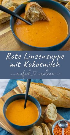 Rote Linsen Suppe mit Kokosmilch, Paprika, Curry & Chili – schmeckt am besten leicht scharf mit etwas frischem Brot. Fingers Food, Coconut Milk Soup, Coconut Curry, Soup Recipes, Cooking Recipes, Pizza Recipes, Red Lentil Soup, Lentil Curry, Healthy Snack Recipes