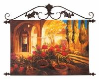 Tuscan Veranda Hand Painted Wall Canvas w/ Iron Rod