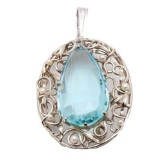 18K White Gold 69.26 CTS Aquamarine and Cultured Akoya Pearl Pendant Brooch with 14K Gold Bail