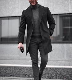 Grays and black men's fashion - fall & winter formal men out Winter Formal Men, Men Formal, Formal Wear, Casual Look For Men, Casual Looks, Men Casual, Casual Groomsmen, Best Suits For Men, Cool Suits