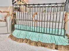 Orange and Grey Arrowhead, Mint Aztec, Burlap, Ivory with Gold Arrows, and Tan Plaid Crib Bedding Baby Boy Bedding, Crib Bedding, Comforter, Orange Bedding, Baby Design, Aztec, Cribs, Color Pop, Mattress