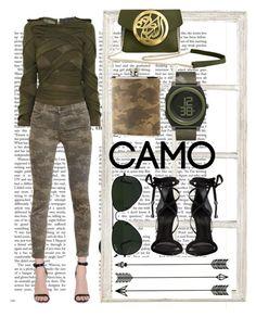 """Head to toe camo"" by blair-lale ❤ liked on Polyvore featuring Ballard Designs, Logan Neitzel, J Brand, Dareen Hakim, Brouk & Co., Nixon, Ray-Ban, Schutz and camostyle"