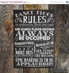 70% OFF THRU 4/25 Printable Custom Wedding Sign, Dance Floor Rules Chalkboard, Vintage DIY Dance Floor Party Sign