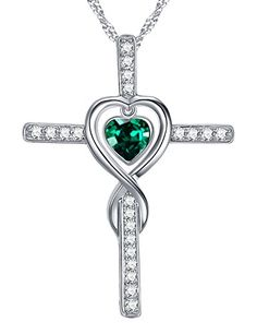 May Birthstone Jewelry Gifts Love Heart Infinity Cross Necklace for Wife for Women Lady Green Emerald Anniversary Birthday Present for Her Sterling Silver Swarovski Pendant and Chain Silver Infinity Ring, Infinity Cross Necklaces, Infinity Earrings, Infinity Jewelry, Infinity Pendant, Silver Ring, Emerald Necklace, Cluster Necklace, Emerald Jewelry