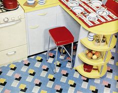 flooring and shelves, vintage 1950s kitchen, typical peninsula design