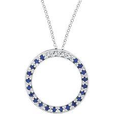 14k Gold Diamond & Sapphire Circle Pendant Necklace
