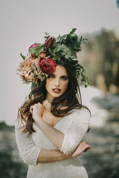 Oversized Flower Crown - Image by Pablo Laguia - Otaduy Wedding Dresses For A Rustic Outdoor Wedding Inspiration Shoot In Spain From Photographer Pablo Laguía And Wedding Planner Paloma Cruz