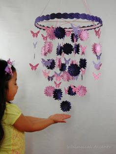 Dahlia and Butterfly Decorative Mobile by whimsicalaccents on Etsy. A beautiful decor for your nursery or bedroom.