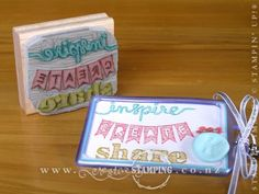 Inspire. Create. Share. Convention Bag Tags WOW>> best custom carved Undefined stamp I've ever seen! Way to go Kristine!