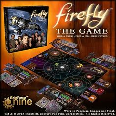 """Firefly board game. According the the description, you captain a ship, take on jobs, and avoid Reavers and the Alliance. This is the first in a series of Firefly board games and miniatures games coming out in the next year, and should hit shelves this fall."""