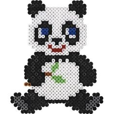 Perler Bead Panda Keychain by DesignsByAliselyn on Etsy