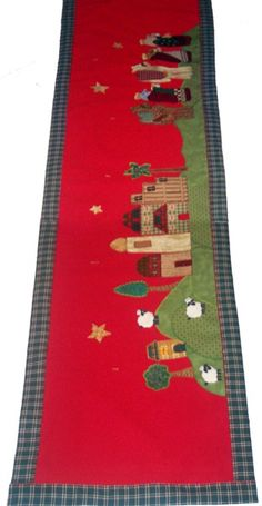 CMN-002 -Camino de mesa navideño en tela Christmas Patchwork, Christmas Art, Quilted Table Runners, Brooches Handmade, Wool Applique, Happy Holidays, Nativity, Projects To Try, Kids Rugs