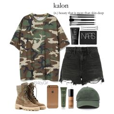 Camo t shirt, black ripped shorts, brown military style  combat boots, olive baseball cap