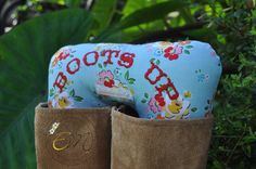 Boots Up by Endear Me Handmade boot stuffer in Blue Floral Cotton fabric - closet organizer; boot trees by EndearMe on Etsy