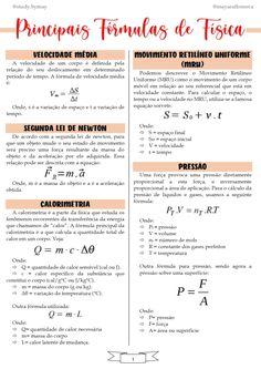 Resumo- Principais Fórmulas de Física High School Life, Life Hacks For School, School Study Tips, School Organization Notes, Study Organization, School Notes, Medicine Student, Bullet Journal School, Study Planner