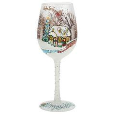 "Lolita ""A White Christmas"" Wine Glass"