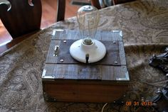 Box Lamp vintage repurposed  Table Lamp  Desk by montesanoalpacas, $49.00