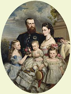 """August Noack, """"Prince Louis and Princess Alice of Hesse with three of their children"""", 1871. The children are Princess Victoria, Prince Ernst Ludwig (Ernie) and baby Prince Friedrich (Frittie)."""