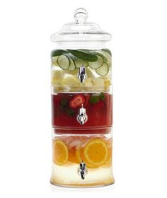Love the idea of this glass beverage dispenser trio that can hold fruit and/or veggie infused water!