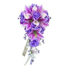 Cascade Bouquet-Shades of Lavender and Ivory Artificial Flowers