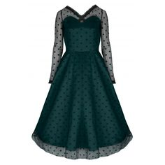 c535a3c28c325 Elsie s Attic Midi Skirt.  Pearl  Exquisite Emerald Green Polka Long  Sleeved Swing Party Dress Vintage Party Dresses