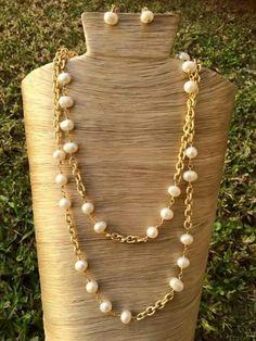 Collar perlas rio y cadena aluminio