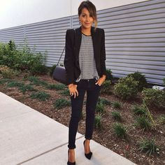 Click the photo to shop the look | Julie Sarinana of Sincerely, Jules wearing a striped tee, Ralph Lauren pinstripe blazer, Adriano Goldschmied skinny jeans, and nine west pumps | | Follow @liketkit on Pinterest for more outfit inspiration #liketkit