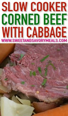 Slow Cooker Corned Beef is incredibly juicy, tender and very flavorful. Made with cabbage, potatoes, and carrots for a well-rounded meal. Corned Beef Brisket, Slow Cooker Corned Beef, Corned Beef Recipes, Crock Pot Slow Cooker, Beef Brisket Crock Pot, Corn Beef And Cabbage, Cabbage Recipes, Cabbage Meals, Slow Cooking