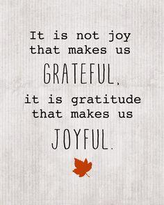 It is not joy that makes us grateful.  It is gratitude that makes us joyful. Brother David Steindl-Rast