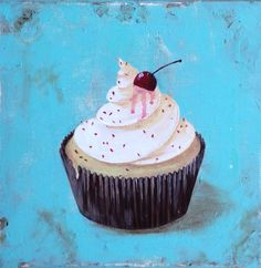 WITH A CHERRY ON TOP for sale by T Fry-Green. Also available in prints($22), totes($26), greeting cards($7.95), throw pillow($25), shower curtain($65), etc.  #cupcake #icing #vanillaicing #vanilla #vanillacupcake #blue #cherry #withacherryontop #sprinkles #tfrygreenart #tfrygreen #homeatlaststudio #art #original #fineartamerica