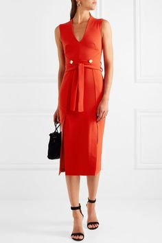 Red crepe Partially concealed zip fastenings along back polyester, elastane Dry clean Designer color: Tomato Red Imported Dressy Dresses, Event Dresses, Short Dresses, Dresses For Work, Red Midi Dress, Dress Skirt, Peplum Dress, Dress Up, Circle Fashion