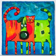 """Modern 3D House Design Picture """"Funny CatDog"""". Gift and interior design idea. Wall hanging decoration. on Etsy, 17,00$"""