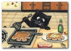 Black Cat Cooking Pancake Paws Kitchen Fun Art - by BiHrLe LE Print ACEO
